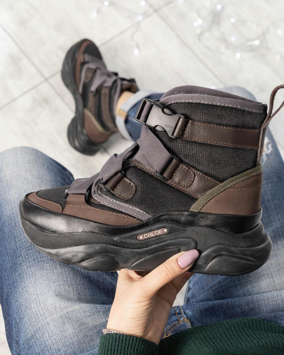 Женские натуральные спортивные ботинки Chloе черные с карабинами Размер 37