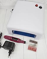 Стартовый набор УФ лампа ( 36 ватт ) + Мини Фрезер для ногтей, фото 1