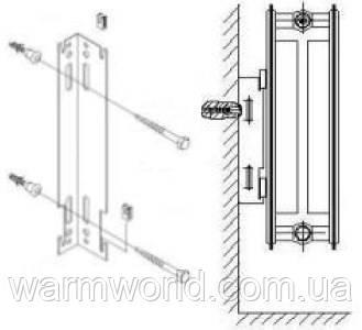 Схема крепления радиатора к стене