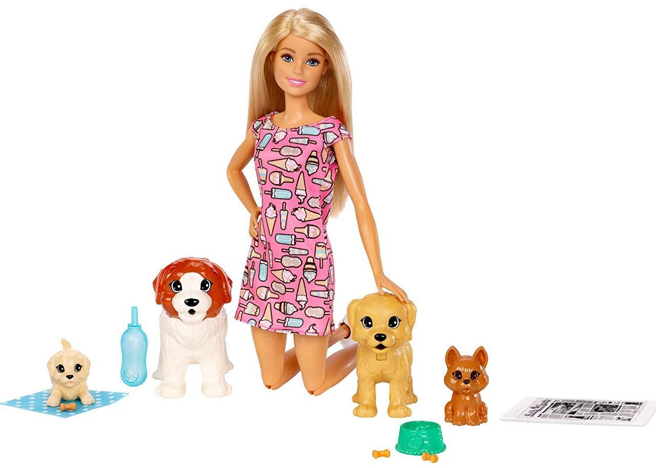 Barbie Барби уход за щенками Детский садик щенков Doggy Daycare Doll Blonde and Pets Playset