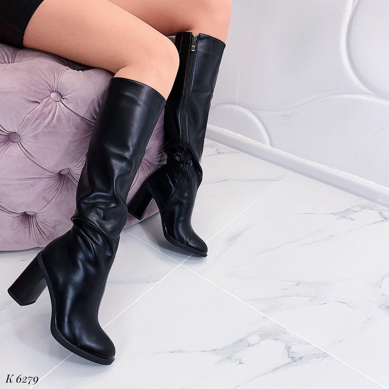 Чорні демісезонні чорні чоботи на підборах 9,5 см еко-шкіра
