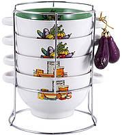 Набор пиал-бульонниц Wellberg Овощи Mix-ІV 680 мл на подставке psgWB-20707, КОД: 945270