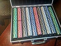 Покерный набор на 1000 фишек в кейсе | набор для игры в покер тысяча фишек в кейсе