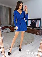 Сияющее платье на запах из люрекса с длинным рукавом и поясом r6603276Q