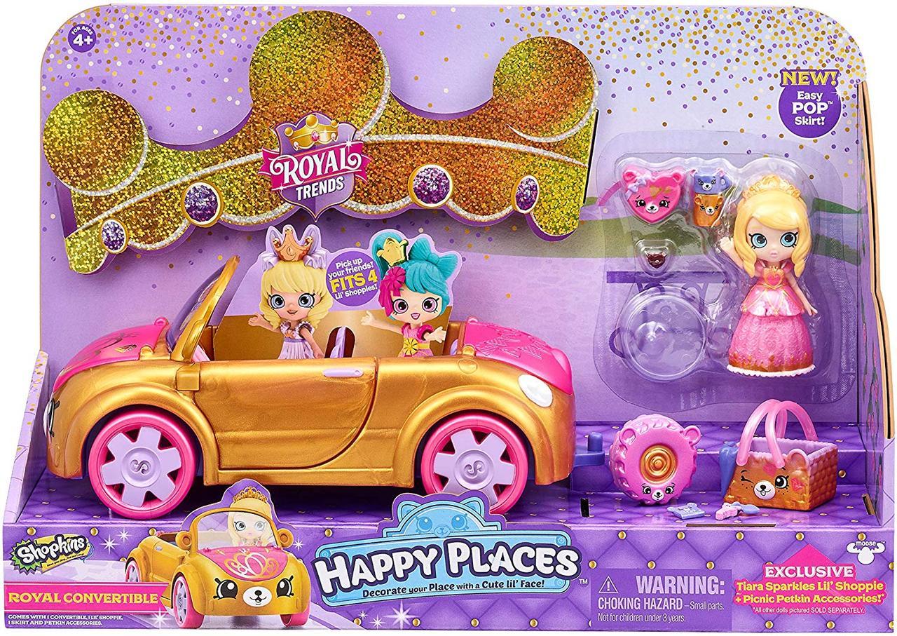 Шопкинс Автомобиль Тиара Спарклс золотой Кабриолет Shopkins Happy Places Royal Convertible