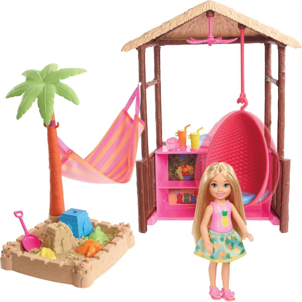 Игровой набор Barbie Chelsea Tiki Hut Playset хижина с качелями Swing, Hammock, Moldable Sand and Accessories