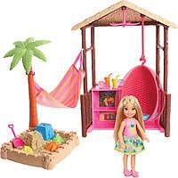 Игровой набор Barbie Chelsea Tiki Hut Playset хижина с качелями Swing, Hammock, Moldable Sand and Accessories, фото 1