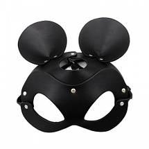 Маска мышки с круглыми ушами микимаус Mouse Minnie Ear BDSM фетиш карнавальная для вечеринок, фото 3