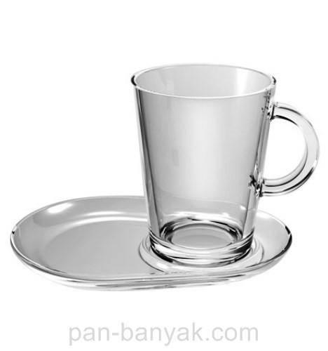 Чашка чайная с блюдцем Pasabahce Tribeca 2 штуки 400мл h11,4 см стекло (95781/2)