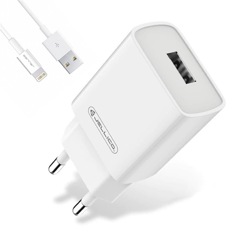 Сетевое зарядное устройство Jellico AQC33 (1USBx3A) QC3.0 White (RL055217) + кабель Lightning