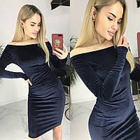 Платье женское  бархатное. чёрное тёмно синее, фото 1
