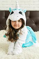 ✅ Детская пижама Кигуруми Единорог Бело-голубой с крыльями 140 (на рост 138-148см)