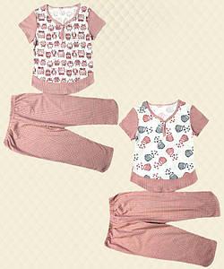 Пижама для девочки подростковая: футболка + бриджи кулир