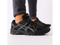 Мужские кроссовки черная сетка с темно-серыми вставками