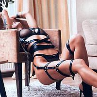 Комплект портупей верх и низ кожаные поводок на шею чокер из кожи ошейник женский из кожи