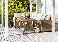 Комплект садовой мебели из искусственного ротанга светлый