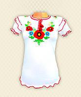 Вышиванка для девочек Дарья короткий рукав белая вискоза