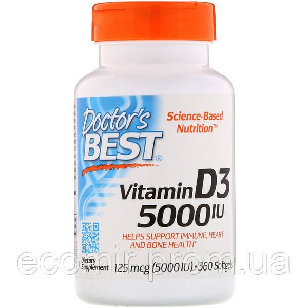 Витамин Д3, Doctor's Best (5000 МЕ / 360 капсул)