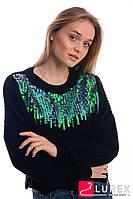 Кроп-свитер с радужными пайетками LUREX - черный цвет, XS (есть размеры), фото 1