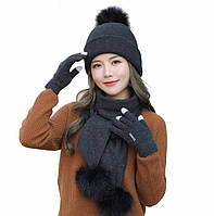 Женский зимний комплект шапка, шарф и сенсорные перчатки Kaya Kuvera black