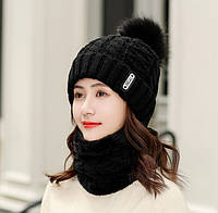 Женский вязаный комплект шапка и короткий шарф-хомут Bono 3650 black