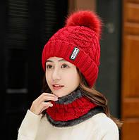 Женский вязаный комплект шапка и короткий шарф-хомут Bono 3650 red