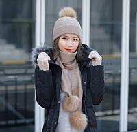 Женский зимний комплект шапка, шарф и сенсорные перчатки Kaya Kuvera beige