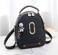 Женский мини рюкзак с брелком O-bag black