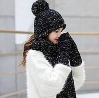 Женский вязаный комплект шапка, шарф и варежки IceBerry black