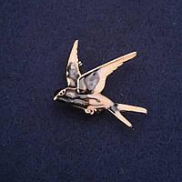 Брошь Ласточка эмаль цвет серый бежевый 36х32мм золотистый металл