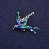 Брошь Ласточка эмаль цвет синий зеленый 36х32мм золотистый металл