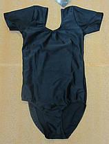 Купальник (трико) гимнастический черный с коротким рукавом, фото 2