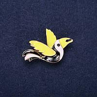 Брошь Птица эмаль цвет черный белый зеленый 24х37мм золотистый металл