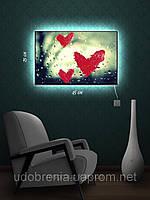 Картина с подсветкой, Помадой по стеклу