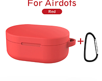 Чехол-накладка для наушников Xiaomi Redmi AirDots - силикон Red (с карабином)