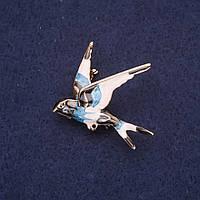 Брошь Ласточка эмаль цвет черный голубой белый 36х32мм золотистый металл