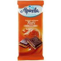 """Шоколад """"Alpinella toffi"""" (Альпинелла с начинкой тоффи), Польша, 100г"""