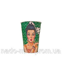 Бумажные стаканы поп-арт 340мл 50шт.уп (1ящ/35уп/1750шт) (КР79)