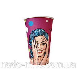 Бумажные стаканы поп-арт 500мл 50шт.уп (1ящ/20уп/1000шт) (КР90)