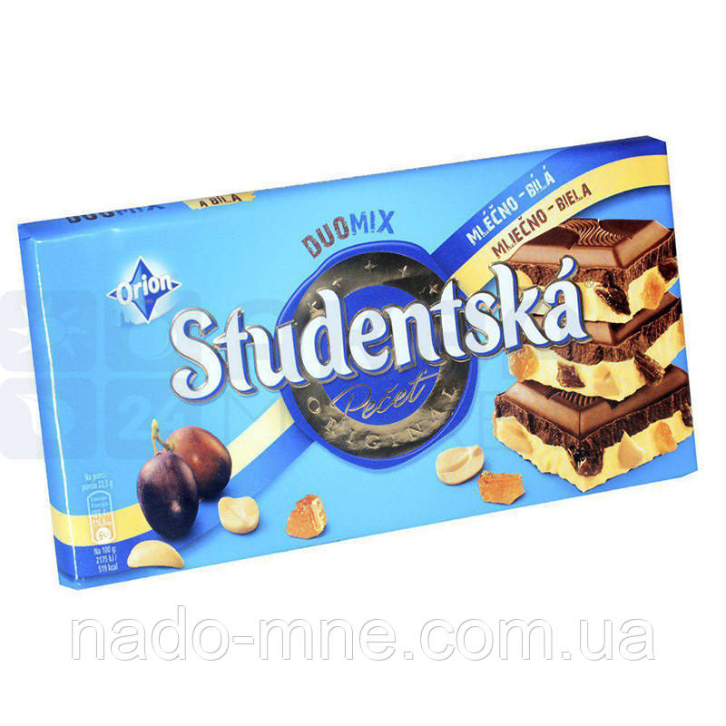Шоколад Studentska 180г,  молочный с арахисом и изюмом, Чехия