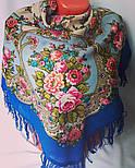 Нежные объятия 1641-13, павлопосадский платок шерстяной с шерстяной бахромой, фото 3