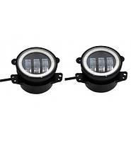 Противотуманные LED фары и ходовые огни ангельские глазки Ø 87mm 15W 10-30V  (пара) Корея 002/L 3623