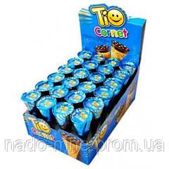 Вафельный рожок со вкусом лесного ореха Tio Cornet, 25 г (24 шт у коробке)