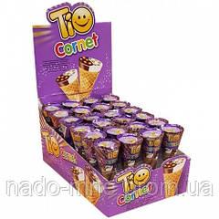 Вафельный рожок с ореховым и ванильным кремом Tio Cornet, 25 г (24 шт в упаковке)