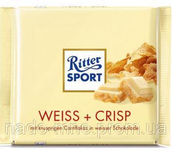 Шоколад Ritter Sport Ріттер Спорт Weiss + Crisp Хрустке печиво, 100 р. Німеччина
