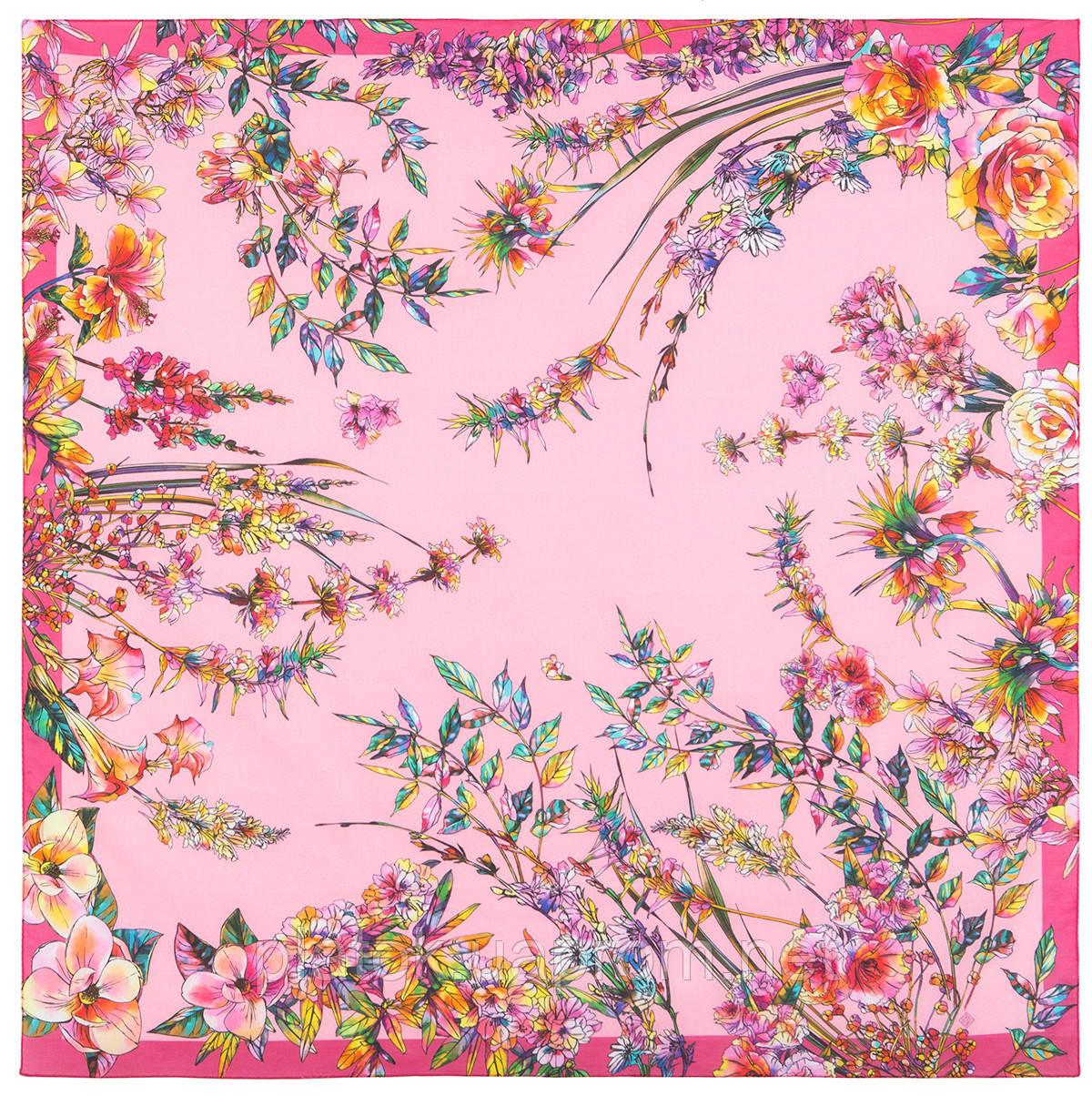 Платок  хлопковый 10602-3, павлопосадский платок хлопковый (батистовый) с швом зиг-заг