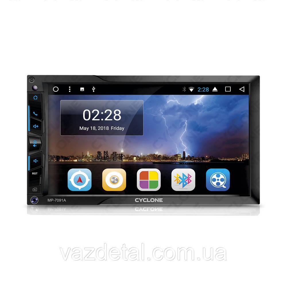 "Магнитола 2DIN Andr 7.1 Cyclone  FM/USB/microSD/AUX/MP5/AVI/сенсор/экран 7""/Wi-Fi/BT/MirrorLink/GPS"