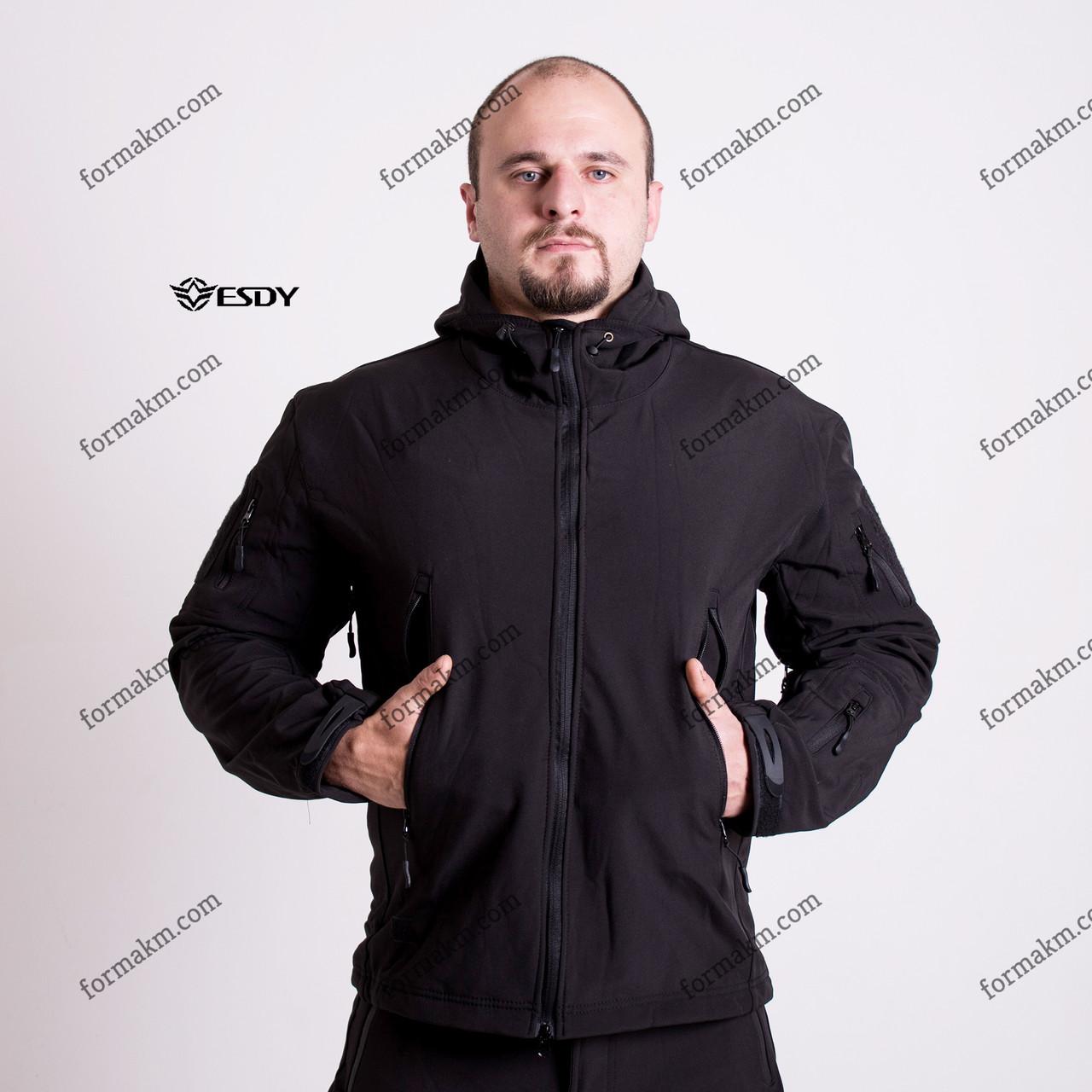 Тактическая куртка на флисе ESDY SoftShell Ranger Black