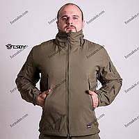 Тактическая куртка на флисе ESDY SoftShell Tactic Olive, фото 1