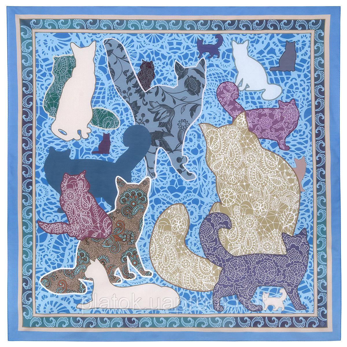 10607-1, павлопосадский платок хлопковый (батистовый) с швом зиг-заг